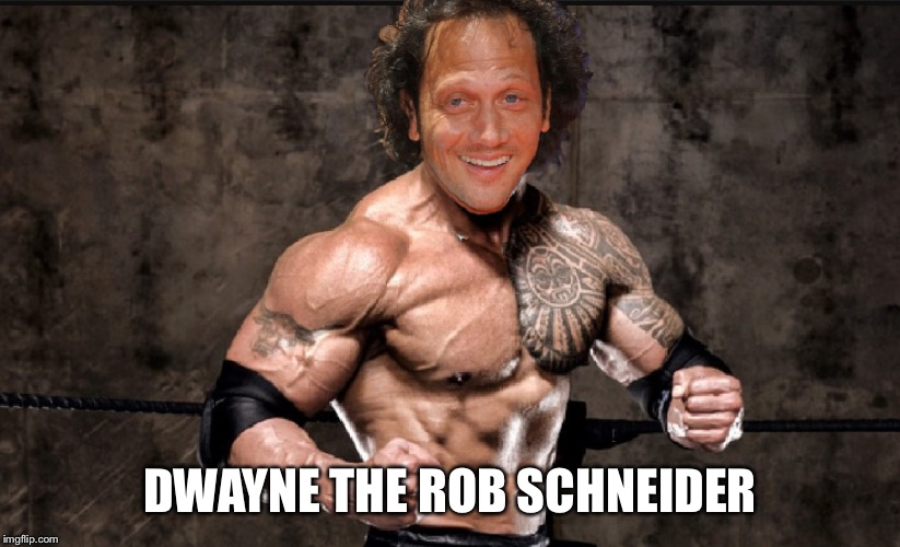 The Rob | DWAYNE THE ROB SCHNEIDER | image tagged in funny memes,puns,celebrity jeopardy snl,the rock,photoshop | made w/ Imgflip meme maker