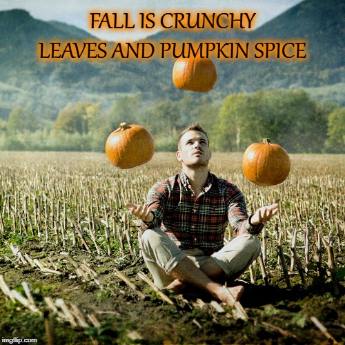 FALL | FALL IS CRUNCHY LEAVES AND PUMPKIN SPICE | image tagged in barefoot | made w/ Imgflip meme maker