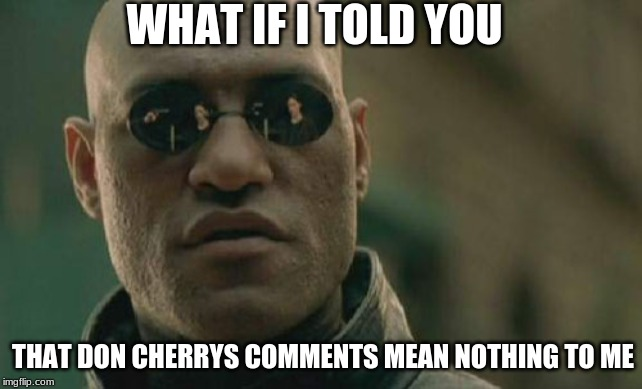 Matrix Morpheus |  WHAT IF I TOLD YOU; THAT DON CHERRYS COMMENTS MEAN NOTHING TO ME | image tagged in memes,matrix morpheus | made w/ Imgflip meme maker