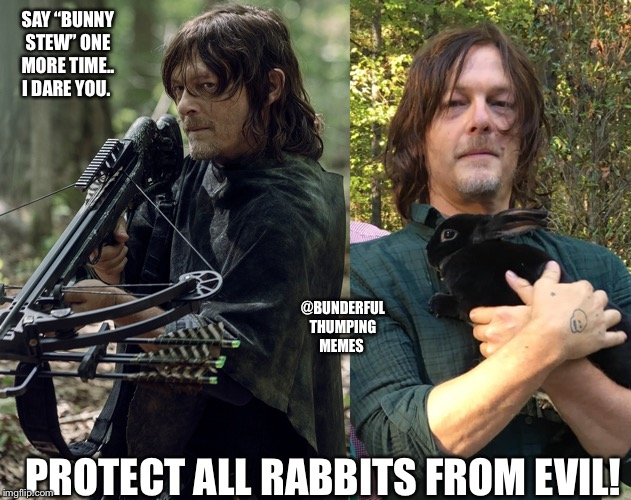 "daryl walking dead bunny | SAY ""BUNNY STEW"" ONE MORE TIME.. I DARE YOU. PROTECT ALL RABBITS FROM EVIL! @BUNDERFUL THUMPING MEMES 