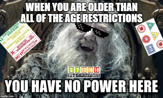 Adult Perks | WHEN YOU ARE OLDER THAN ALL OF THE AGE RESTRICTIONS | image tagged in you have no power here,haha | made w/ Imgflip meme maker