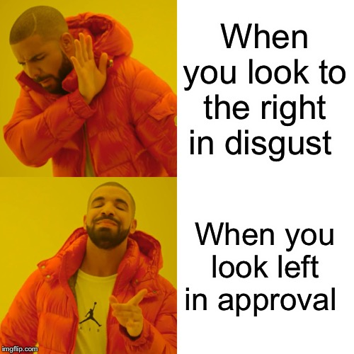Drake Hotline Bling Meme | When you look to the right in disgust When you look left in approval | image tagged in memes,drake hotline bling | made w/ Imgflip meme maker