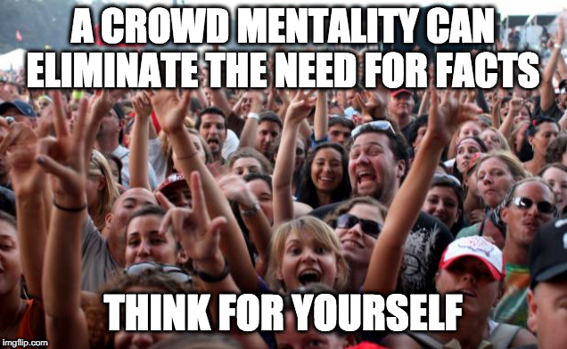 Think For Yourself! |  A CROWD MENTALITY CAN ELIMINATE THE NEED FOR FACTS; THINK FOR YOURSELF | image tagged in politics,crowds,voting,elections,facts,fake news | made w/ Imgflip meme maker