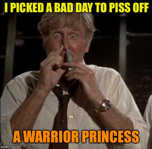 SniffingGlue | I PICKED A BAD DAY TO PISS OFF A WARRIOR PRINCESS | image tagged in sniffingglue | made w/ Imgflip meme maker