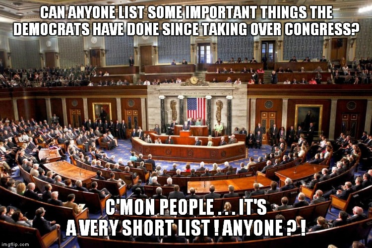 No libtards, finding new and creative ways to be obstructionists does not qualify as important! |  CAN ANYONE LIST SOME IMPORTANT THINGS THE DEMOCRATS HAVE DONE SINCE TAKING OVER CONGRESS? C'MON PEOPLE . . . IT'S A VERY SHORT LIST ! ANYONE ? ! | image tagged in congress,democrats | made w/ Imgflip meme maker