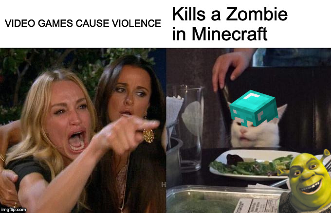 Woman Yelling At Cat |  VIDEO GAMES CAUSE VIOLENCE; Kills a Zombie in Minecraft | image tagged in memes,woman yelling at cat | made w/ Imgflip meme maker