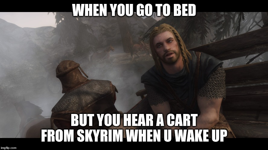 Skyrim you're finally awake | WHEN YOU GO TO BED BUT YOU HEAR A CART FROM SKYRIM WHEN U WAKE UP | image tagged in skyrim you're finally awake | made w/ Imgflip meme maker