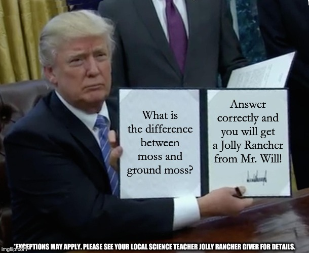 Trump Bill Signing | What is the difference between moss and ground moss? Answer correctly and you will get a Jolly Rancher from Mr. Will! *EXCEPTIONS MAY APPLY. | image tagged in memes,trump bill signing | made w/ Imgflip meme maker