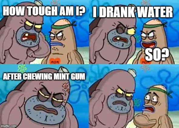 How Tough Are You |  I DRANK WATER; HOW TOUGH AM I? SO? AFTER CHEWING MINT GUM | image tagged in memes,how tough are you | made w/ Imgflip meme maker