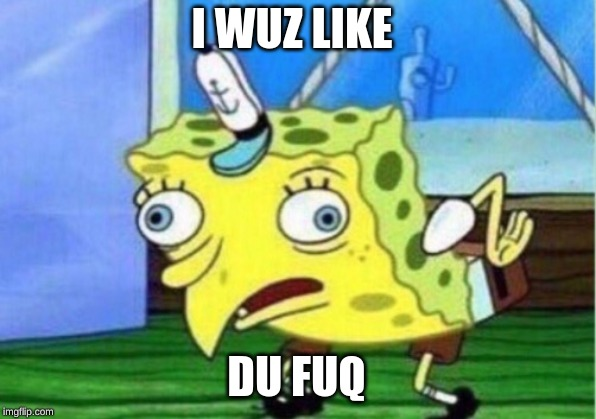 I WUZ LIKE DU FUQ | image tagged in memes,mocking spongebob | made w/ Imgflip meme maker