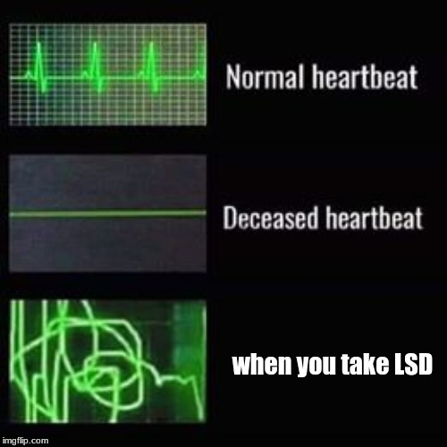 heartbeat rate |  when you take LSD | image tagged in heartbeat rate | made w/ Imgflip meme maker
