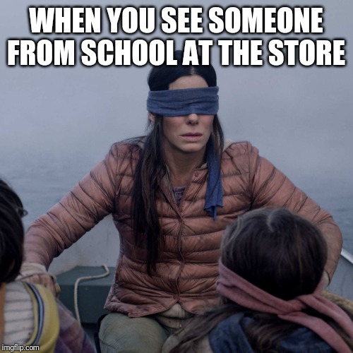 Bird Box |  WHEN YOU SEE SOMEONE FROM SCHOOL AT THE STORE | image tagged in memes,bird box | made w/ Imgflip meme maker