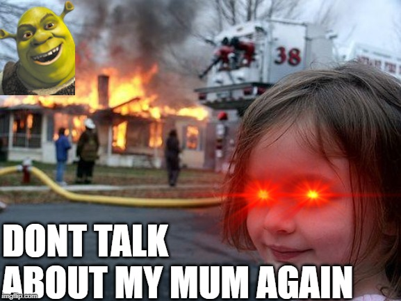 Disaster Girl Meme | DONT TALK ABOUT MY MUM AGAIN | image tagged in memes,disaster girl | made w/ Imgflip meme maker