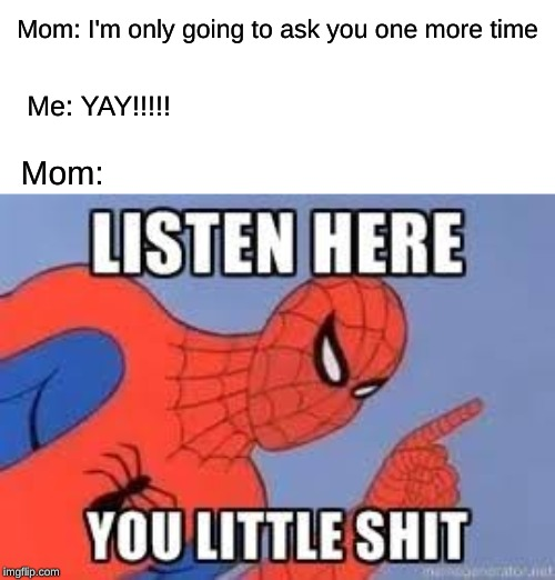 NOW LISTEN HERE YOU LITTLE SHIT | Mom: I'm only going to ask you one more time Me: YAY!!!!! Mom: | image tagged in now listen here you little shit | made w/ Imgflip meme maker