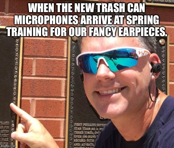 WHEN THE NEW TRASH CAN MICROPHONES ARRIVE AT SPRING TRAINING FOR OUR FANCY EARPIECES. | image tagged in houston astros,major league baseball,cheating,cheaters | made w/ Imgflip meme maker