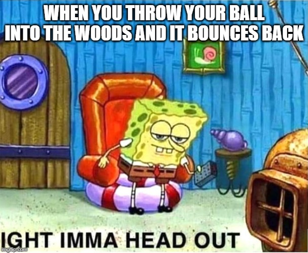 SpongeBob Ight Ima Head Out Babys Born |  WHEN YOU THROW YOUR BALL INTO THE WOODS AND IT BOUNCES BACK | image tagged in spongebob ight ima head out babys born | made w/ Imgflip meme maker