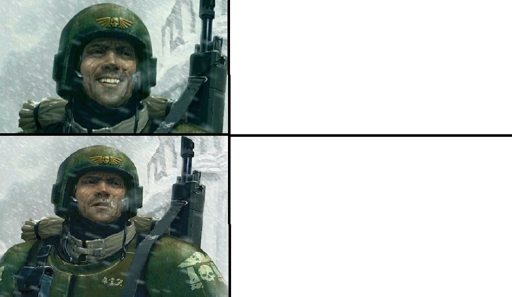 Smiling guardsman Meme Template