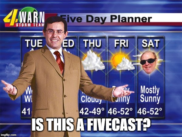 Forecast? | IS THIS A FIVECAST? | image tagged in weather | made w/ Imgflip meme maker