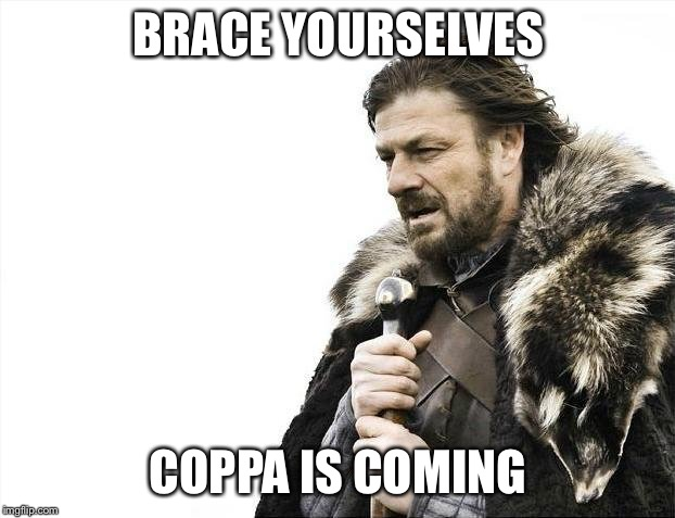 Brace Yourselves X is Coming | BRACE YOURSELVES COPPA IS COMING | image tagged in memes,brace yourselves x is coming | made w/ Imgflip meme maker