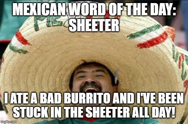 mexican word of the day | MEXICAN WORD OF THE DAY: SHEETER I ATE A BAD BURRITO AND I'VE BEEN STUCK IN THE SHEETER ALL DAY! | image tagged in mexican word of the day | made w/ Imgflip meme maker