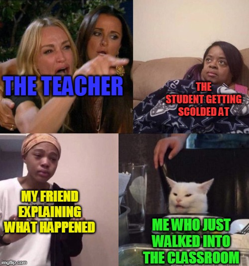THE STUDENT GETTING SCOLDED AT; THE TEACHER; MY FRIEND EXPLAINING WHAT HAPPENED; ME WHO JUST WALKED INTO THE CLASSROOM | image tagged in memes,funny,crossover,woman yelling at cat,me explaining to my mom,school | made w/ Imgflip meme maker