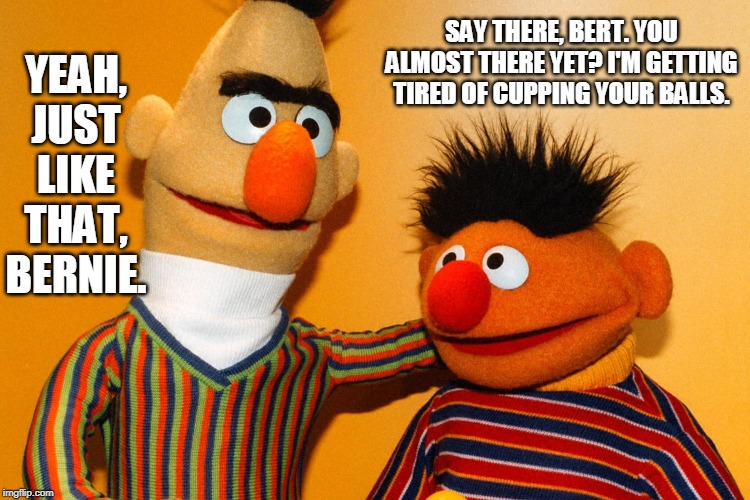 Bert & Ernie |  YEAH, JUST LIKE THAT, BERNIE. SAY THERE, BERT. YOU ALMOST THERE YET? I'M GETTING TIRED OF CUPPING YOUR BALLS. | image tagged in memes,bert and ernie,muppets,bert,ernie | made w/ Imgflip meme maker