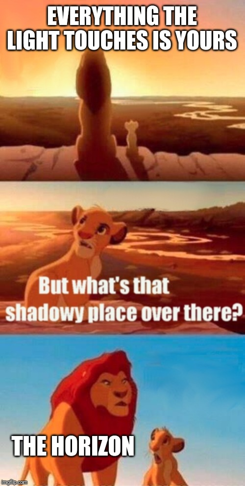 Simba Shadowy Place Meme | EVERYTHING THE LIGHT TOUCHES IS YOURS THE HORIZON | image tagged in memes,simba shadowy place | made w/ Imgflip meme maker
