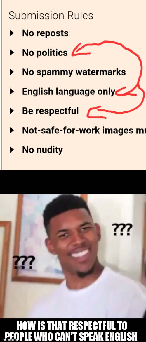 HOW IS THAT RESPECTFUL TO PEOPLE WHO CAN'T SPEAK ENGLISH | image tagged in what the fuck ngga wtf | made w/ Imgflip meme maker
