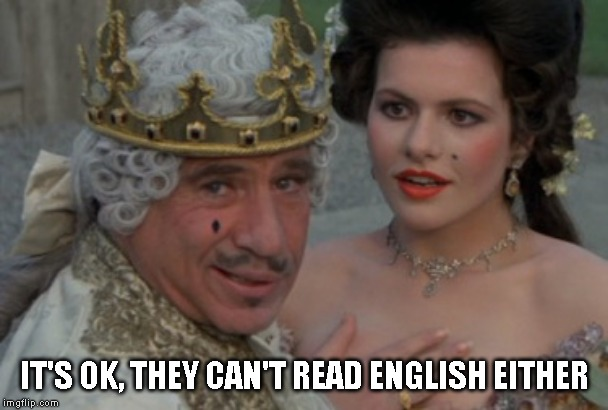 Good to be the king | IT'S OK, THEY CAN'T READ ENGLISH EITHER | image tagged in good to be the king | made w/ Imgflip meme maker