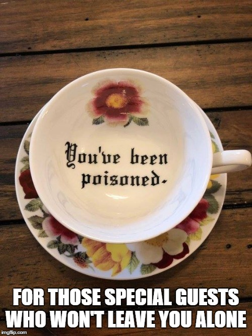 You've been poisoned |  FOR THOSE SPECIAL GUESTS WHO WON'T LEAVE YOU ALONE | image tagged in poison,tea,solitude | made w/ Imgflip meme maker