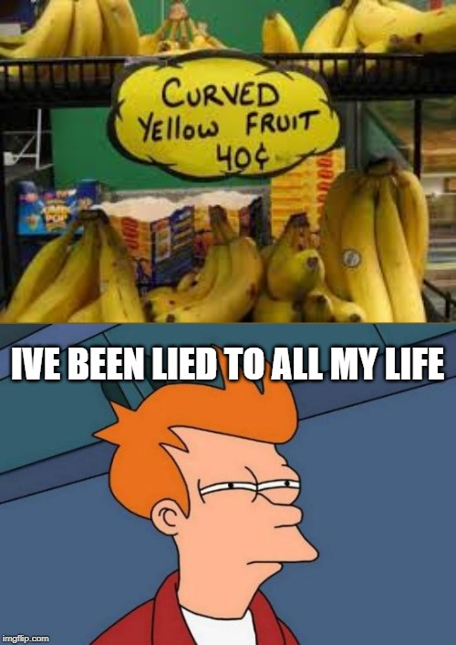 Curved yellow fruit |  IVE BEEN LIED TO ALL MY LIFE | image tagged in banana,boi,y u do dis,futurama fry | made w/ Imgflip meme maker