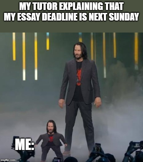 MY TUTOR EXPLAINING THAT MY ESSAY DEADLINE IS NEXT SUNDAY ME: | image tagged in mini keanu reeves and big keanu reeves | made w/ Imgflip meme maker