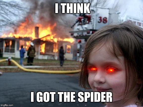 Disaster Girl Meme | I THINK I GOT THE SPIDER | image tagged in memes,disaster girl | made w/ Imgflip meme maker