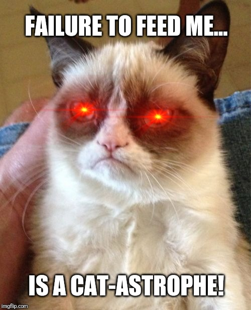 Grumpy Cat Meme |  FAILURE TO FEED ME... IS A CAT-ASTROPHE! | image tagged in memes,grumpy cat,feed me,laugh | made w/ Imgflip meme maker