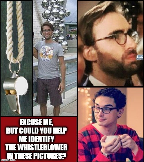 EXCUSE ME, BUT COULD YOU HELP ME IDENTIFY THE WHISTLEBLOWER IN THESE PICTURES? | made w/ Imgflip meme maker