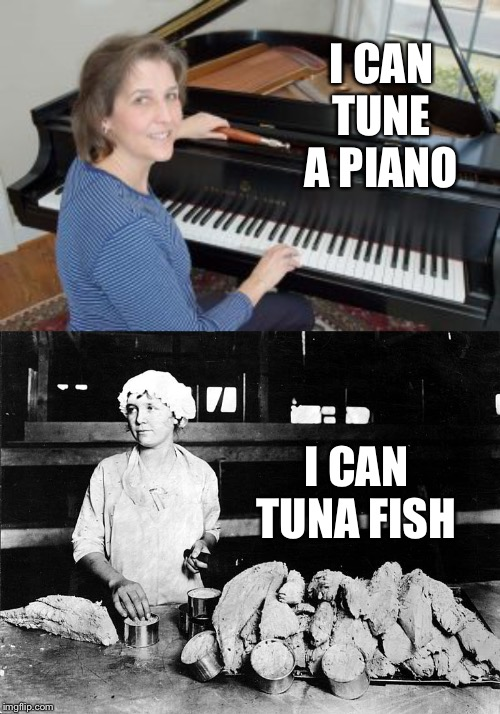 Uncanny | I CAN TUNE A PIANO I CAN TUNA FISH | image tagged in tuna,piano,dumb pun | made w/ Imgflip meme maker