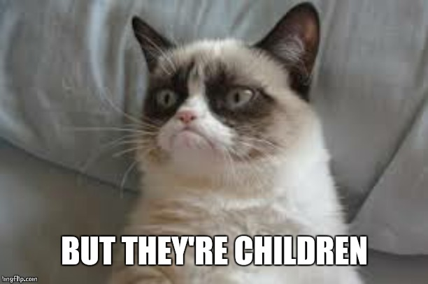 Grumpy cat | BUT THEY'RE CHILDREN | image tagged in grumpy cat | made w/ Imgflip meme maker