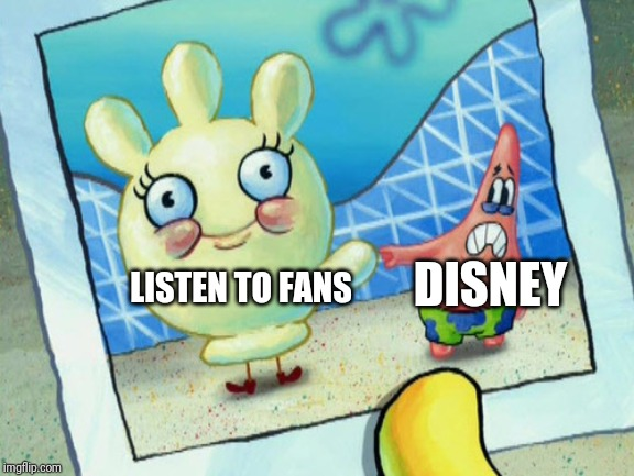 Just think about those life action movies nobody wants |  DISNEY; LISTEN TO FANS | image tagged in scared patrick and glovey glove,patrick star,disney,memes | made w/ Imgflip meme maker