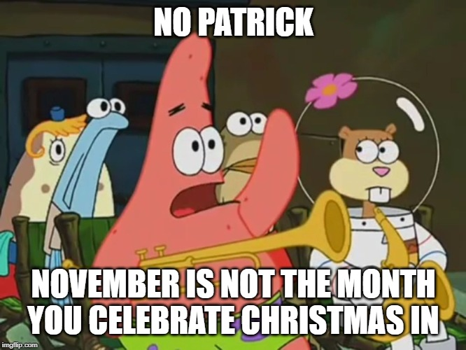 Is mayonnaise an instrument? | NO PATRICK NOVEMBER IS NOT THE MONTH YOU CELEBRATE CHRISTMAS IN | image tagged in is mayonnaise an instrument | made w/ Imgflip meme maker