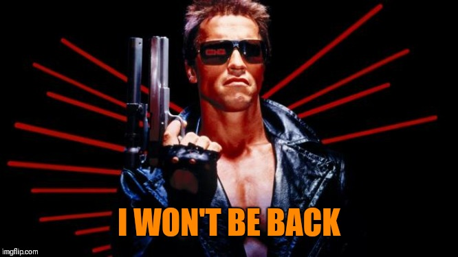 I'll be back | I WON'T BE BACK | image tagged in i'll be back | made w/ Imgflip meme maker