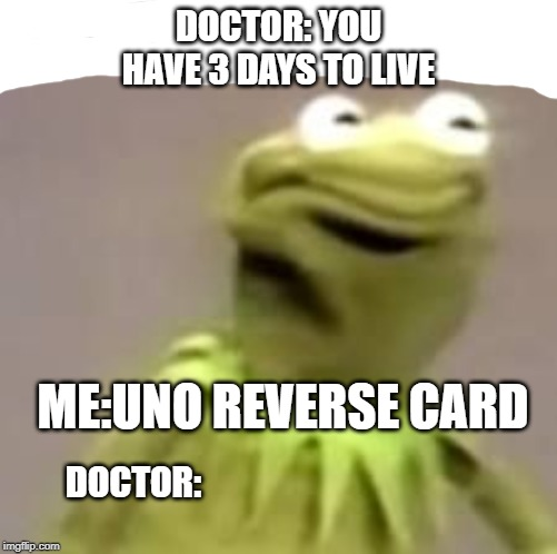 Kermit | DOCTOR: YOU HAVE 3 DAYS TO LIVE ME:UNO REVERSE CARD DOCTOR: | image tagged in kermit | made w/ Imgflip meme maker