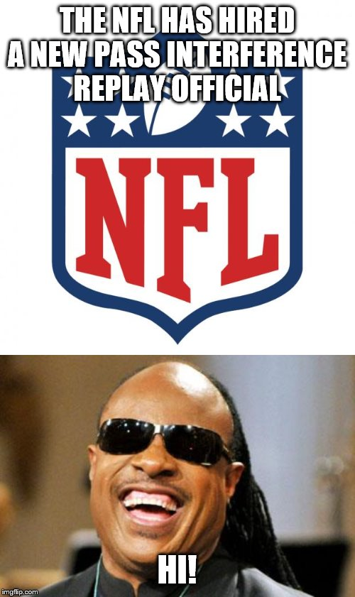 THE NFL HAS HIRED A NEW PASS INTERFERENCE REPLAY OFFICIAL; HI! | image tagged in nfl logic,stevie wonder | made w/ Imgflip meme maker