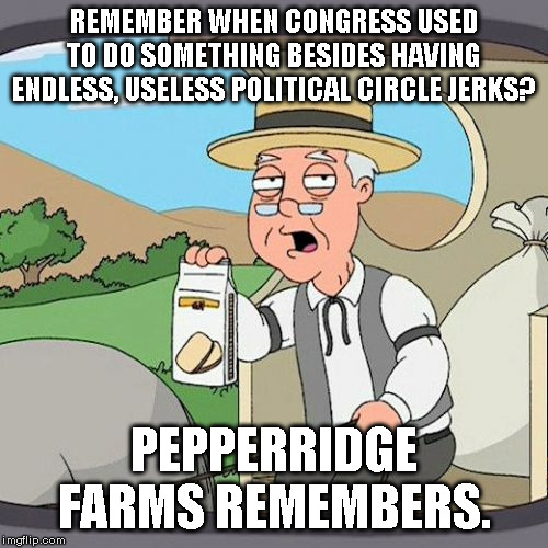 Congressional circle jerks |  REMEMBER WHEN CONGRESS USED TO DO SOMETHING BESIDES HAVING ENDLESS, USELESS POLITICAL CIRCLE JERKS? PEPPERRIDGE FARMS REMEMBERS. | image tagged in pepperidge farms remembers,congress | made w/ Imgflip meme maker