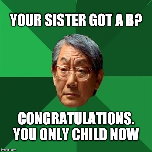 Asian dad not cruel at all | YOUR SISTER GOT A B? CONGRATULATIONS. YOU ONLY CHILD NOW | image tagged in bruh | made w/ Imgflip meme maker