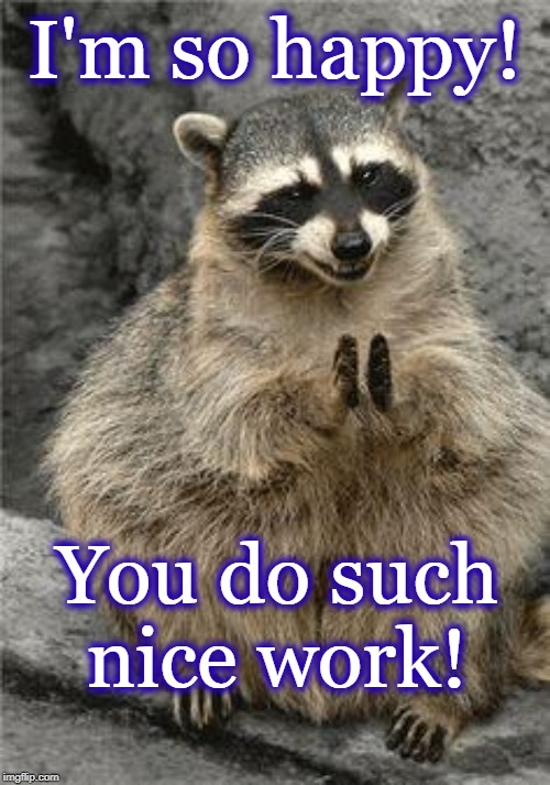 racoon | I'm so happy! You do such nice work! | image tagged in racoon | made w/ Imgflip meme maker