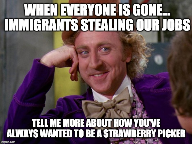 charlie-chocolate-factory |  WHEN EVERYONE IS GONE... IMMIGRANTS STEALING OUR JOBS; TELL ME MORE ABOUT HOW YOU'VE ALWAYS WANTED TO BE A STRAWBERRY PICKER | image tagged in charlie-chocolate-factory | made w/ Imgflip meme maker