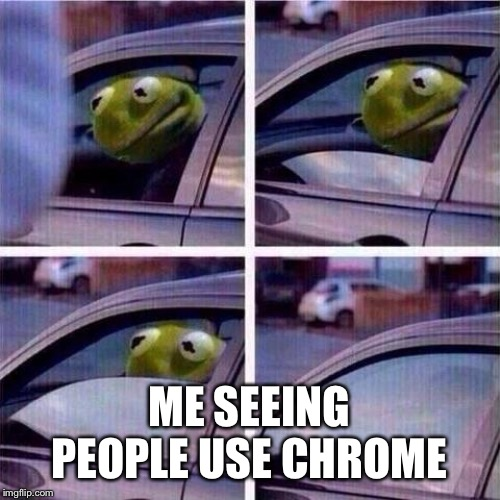 ME SEEING PEOPLE USE CHROME | image tagged in kermit window roll up | made w/ Imgflip meme maker