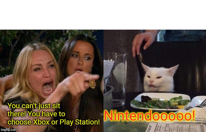 Choose Wisely | You can't just sit there! You have to choose Xbox or Play Station! Nintendooooo! | image tagged in memes,woman yelling at cat | made w/ Imgflip meme maker