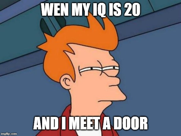 Futurama Fry | WEN MY IQ IS 20 AND I MEET A DOOR | image tagged in memes,futurama fry | made w/ Imgflip meme maker