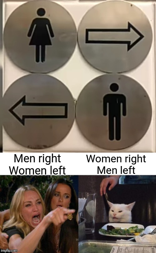 Wrong sign! | Women rightMen left Men rightWomen left | image tagged in memes,woman yelling at cat,signs,funny,wrong,toilet | made w/ Imgflip meme maker